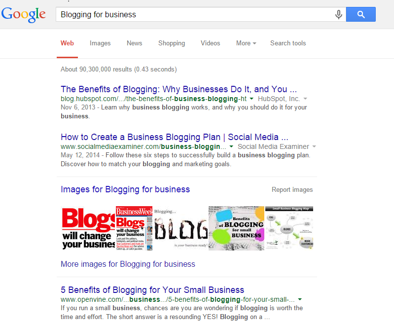 """Within Google search, """"Blogging for Business"""" generates more than +90M search results."""