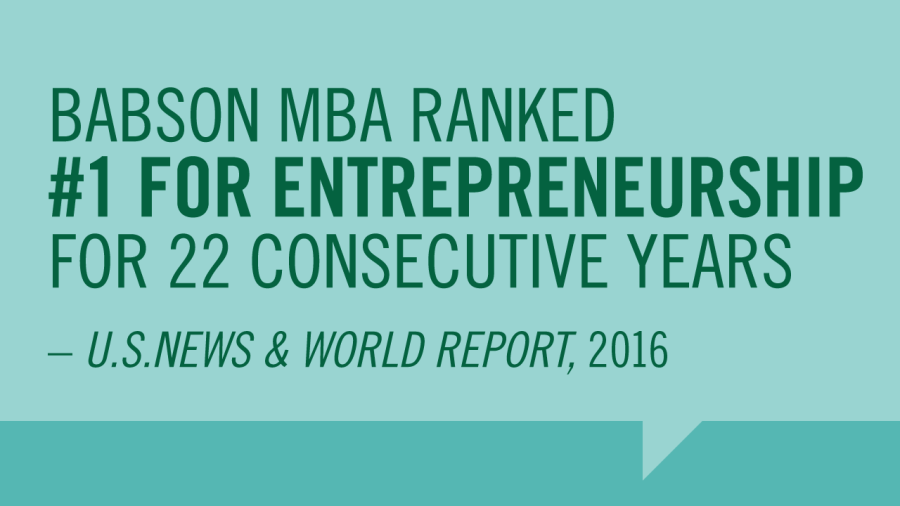 Babson MBA Ranked #1 for Entreprenuership
