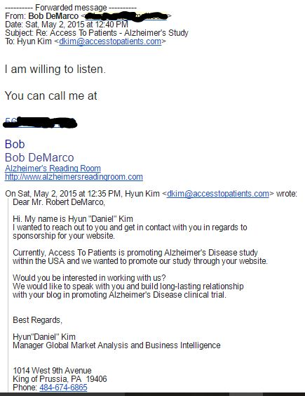 Email Contact to Bob DeMarco